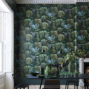 contemporary wallpaper / nature pattern / green / non-woven