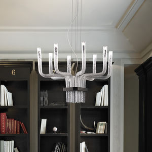original design chandelier / crystal / blown glass / metal