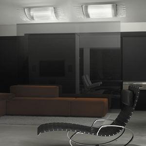 contemporary ceiling light / rectangular / glass / metal