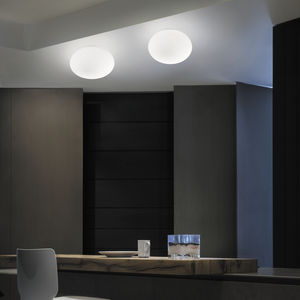 contemporary ceiling light / oval / blown glass / LED