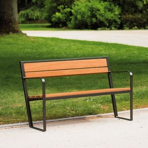 garden bench / contemporary / wooden / steel