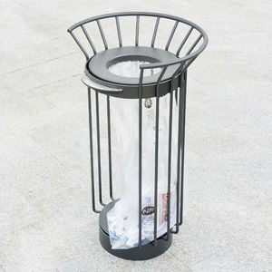 public trash can / aluminum / contemporary / with built-in ashtray