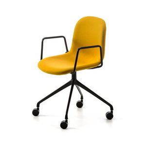 contemporary chair / upholstered / with armrests / on casters