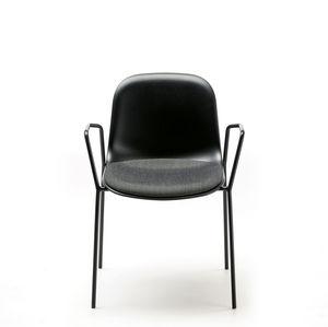 Scandinavian design chair / upholstered / stackable / tablet