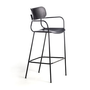 contemporary bar chair / with footrest / with armrests / ash