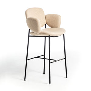 Scandinavian design bar chair / upholstered / with footrest / with armrests