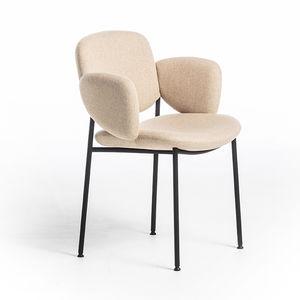 Scandinavian design restaurant chair / with armrests / upholstered / bistro