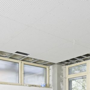 acoustic plasterboard / rectangular / for false ceilings / perforated