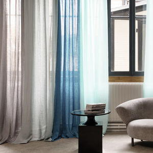 plain sheer curtain fabric / linen / washable / home