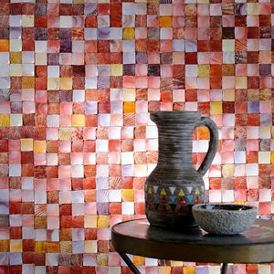 teak wallcovering / mother-of-pearl / polyester / home