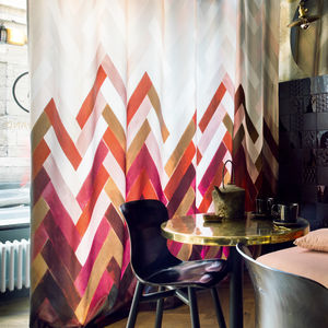curtain fabric / geometric pattern / Trevira CS® / satin