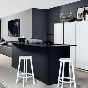 contemporary kitchen / lacquered wood / island / compact