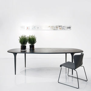 contemporary table / MDF / aluminum / steel base