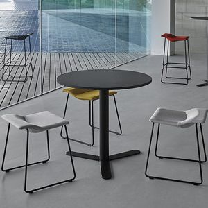 contemporary stool / stainless steel / lacquered steel / polyethylene