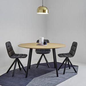 contemporary table / wood veneer / MDF / steel base