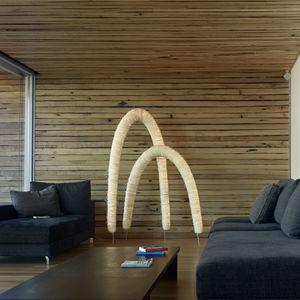 floor-standing lamp / original design / stainless steel / arc