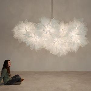original design chandelier / painted steel / fabric / incandescent