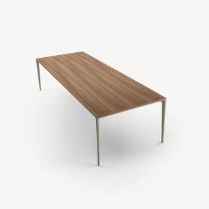 contemporary table / lacquered aluminum / nickel / rectangular