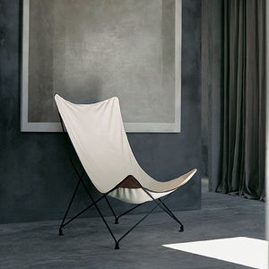 contemporary armchair / canvas / leather / steel