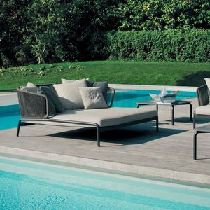 contemporary sun lounger / fabric / stainless steel / painted metal
