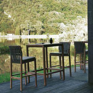 contemporary high bar table / teak / teak base / square