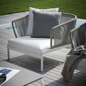 contemporary armchair / fabric / stainless steel / painted metal