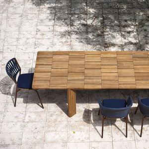 contemporary table / teak / rectangular / garden