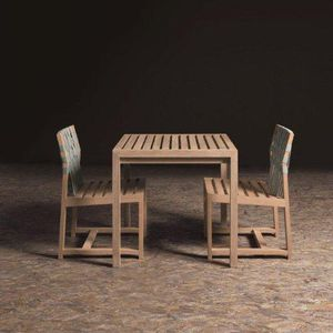 contemporary table / teak / teak base / square