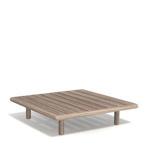 contemporary coffee table / teak / teak base / square