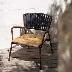 garden armchair / contemporary / textile / teak
