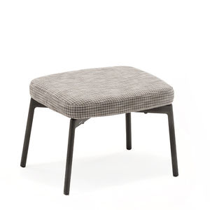 contemporary stool / teak / textile / aluminum