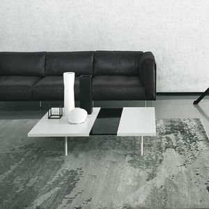 contemporary coffee table / glass / painted metal / painted metal base