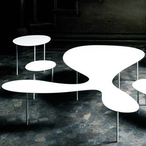 contemporary coffee table / painted steel / painted steel base / curved