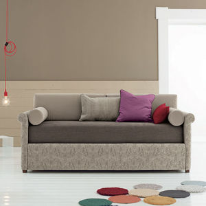 sofa bed / contemporary / fabric / brown