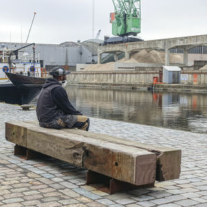 public bench / contemporary / exotic wood / galvanized steel