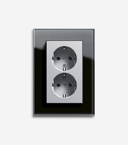 power socket / double / wall-mounted / contemporary