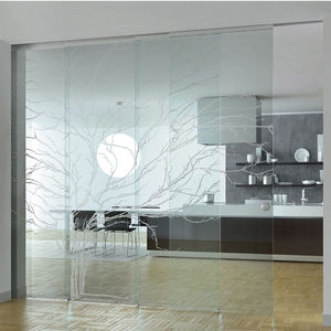 sliding and stacking partition / glazed / professional / home