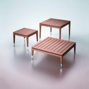 contemporary side table / teak / rectangular / square