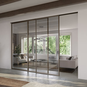 interior door / sliding and stacking / aluminum / glazed