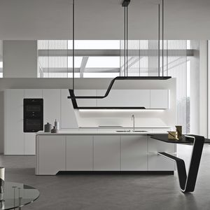 contemporary kitchen / lacquered steel / island / lacquered