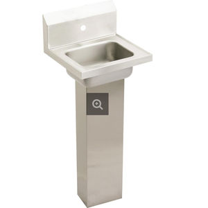 free-standing hand basin / rectangular / stainless steel / commercial