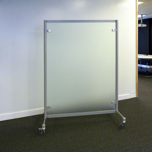 floor-mounted office divider / glass / on casters
