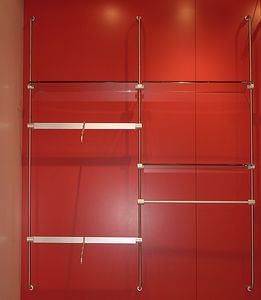 wall-mounted shelving system / contemporary / metal / glass