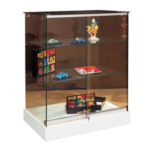 contemporary display case / wooden / metal / glass