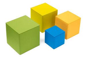 contemporary pouf / coated foam / felt / square