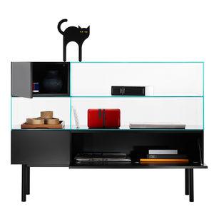 Scandinavian design display cabinet / free-standing / glass / MDF