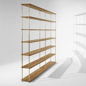 contemporary shelf / oak / walnut / lacquered MDF