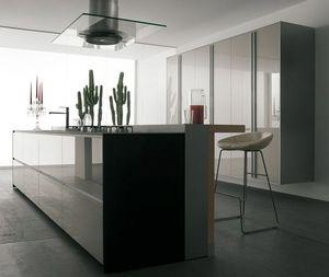 contemporary kitchen / glass / island / handleless