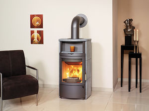 wood heating stove / metal / earthenware / contemporary