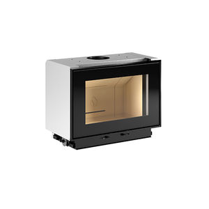 closed wood hearth / 1-sided / steel / ceramic